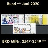 FRG MiNo. 3547-3549 ** New issues Germany June 2020, MNH