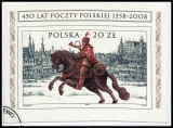 PL BL182 o 450 Years of Polish Post 1558-2008, sheet, self-adhesive, on paper