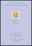 FRG MiNo. 2073 o 250th birthday Joh. Wolfgang von Goethe on Deutsche Post card