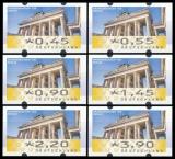 FRG MiNr. ATM 6 set 45-390 Euro cent ** Frama labels: Brandenburg Gate, MNH