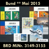 FRG MiNo. 3149-3155 ** New issues May 2015, MNH, incl. self-adhesives