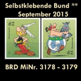 FRG MiNo. 3178-3179 ** All self adhesives Germany September 2015, MNH