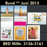 FRG MiNo. 3156-3161 ** New issues June 2015, MNH, incl. self-adhesives