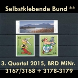 FRG MiNo. 3167-3179 ** Self-adhesives Germany Q3 2015, MNH