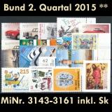 FRG MiNo. 3143-3161 ** New issues 2nd Quarter 2015, MNH, incl. self-adhesives