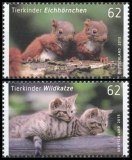 FRG MiNo. 3124-3125 set ** Animal babies (III): squirrel + wild cat, MNH, wet-adhesive
