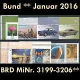 FRG MiNo. 3199-3206 ** New issues Germany January 2016, MNH, inkl. self-adhesives