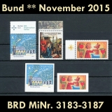 FRG MiNo. 3183-3187 ** New issues Germany November 2015, MNH, inkl. self-adhesives