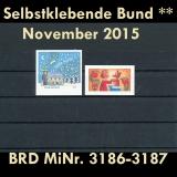 FRG MiNo. 3186-3187 ** Self adhesives Germany November 2015, MNH