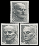 FRG MiNo. 871-873 set ** German winners of Nobel Peace Prize, MNH, from sheet