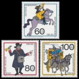 FRG MiNo. 1437-1439 set ** Welfare 1989: Mail transport over the centuries, MNH