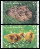 FRG MiNo. 3217-3218 set ** Series baby animals: hare and greylag, MNH