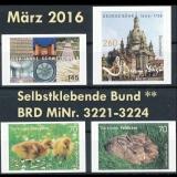 FRG MiNo. 3221-3224 ** Self adhesives march 2016, MNH