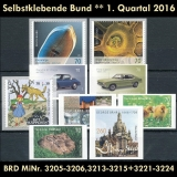 FRG MiNo. 3205-3224 ** Self-adhesives Germany Q1 2016, MNH, unprinted back