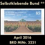 FRG MiNo. 3231 ** Self adhesives Germany april 2016, MNH