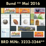 FRG MiNo. 3232-3244 ** New issues Germany may 2016, MNH, inkl. self-adhesives