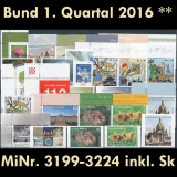 FRG MiNo. 3199-3224 ** New issues 1st Quarter 2016, MNH, incl. self-adhesives
