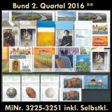 FRG MiNo. 3225-3251 ** New issues 2nd Quarter 2016, MNH, incl. self-adhesives