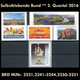 FRG MiNo. 3231-3251 ** Self-adhesives Germany Q2 2016, MNH