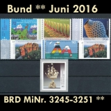 FRG MiNo. 3245-3251 ** New issues Germany june 2016, MNH, inkl. self-adhesives