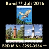 FRG MiNo. 3252-3253 ** New issues Germany july 2016, MNH