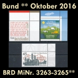 FRG MiNo. 3263-3265 ** New issues Germany october 2016, MNH