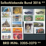 FRG MiNo. 3205-3270 ** Self-adhesives Germany year 2016, MNH