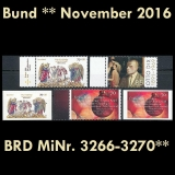 FRG MiNo. 3266-3270 ** New issues Germany november 2016, MNH incl. self-adhesive