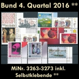 FRG MiNo. 3263-3273 ** New issues 4th Quarter 2016, MNH, incl. self-adhesives