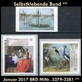 FRG MiNo. 3279-3281 ** Self adhesives Germany january 2017, MNH