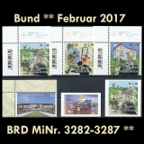 FRG MiNo. 3282-3287 ** New issues Germany february 2017, MNH incl. self-adhesive