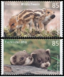 FRG MiNo. 3288-3289 set ** Series Animal children: Iltis & wild boar, MNH