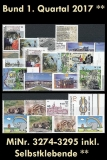 FRG MiNo. 3274-3295 ** New issues 1st Quarter 2017, MNH, incl. self-adhesives