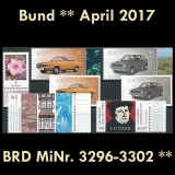 FRG MiNo. 3296-3302 ** New issues Germany april 2017, MNH incl. self-adhesive