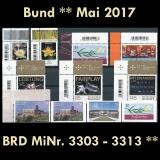 FRG MiNo. 3303-3313 ** New issues Germany may 2017, MNH incl. self-adhesive