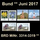FRG MiNo. 3314-3319 ** New issues Germany june 2017, MNH incl. self-adhesive