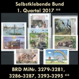 FRG MiNo. 3279-3295 ** Self-adhesives Germany Q1 2017, MNH