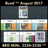 FRG MiNo. 3324-3330 ** New issues Germany august 2017, MNH