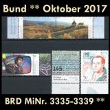 FRG MiNo. 3335-3339 ** New issues Germany october 2017, MNH