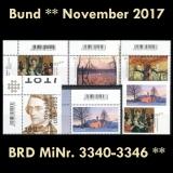 FRG MiNo. 3340-3346 ** New issues Germany november 2017, MNH