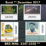 FRG MiNo. 3347-3350 ** New issues Germany december 2017, MNH