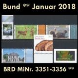 FRG MiNo. 3351-3356 ** New issues Germany january 2018, MNH