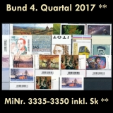 FRG MiNo. 3335-3350 ** New issues 4th Quarter 2017, MNH, incl. self-adhesives