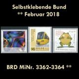 BRD MiNr. 3362-3364 ** Selbstklebende Bund Februar 2018, postfrisch