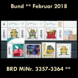 FRG MiNo. 3357-3364 ** New issues Germany february 2018, MNH, incl. self-adh.