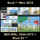 FRG MiNo. 3365-3372 + block 82 ** New issues Germany march 2018, MNH, incl. self-adh.