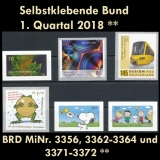 FRG MiNo. 3356-3372 ** Self-adhesives Germany Q1 2018, MNH