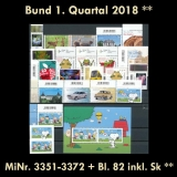 FRG MiNo. 3351-3372+block 82 ** New issues Q1 2018, MNH, incl. self-adhesives