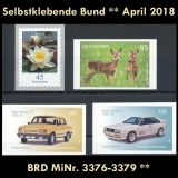 FRG MiNo. 3376-3379 ** Self-Adhesives Germany April 2018, MNH