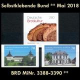 FRG MiNo. 3388-3390 ** Self-Adhesives Germany May 2018, MNH